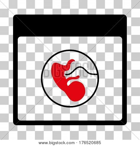 Human Embryo Calendar Page icon. Vector illustration style is flat iconic bicolor symbol, intensive red and black colors, transparent background. Designed for web and software interfaces.