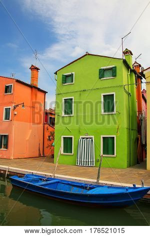 Colorful House By Canal In Burano, Venice, Italy.