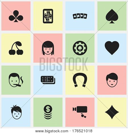 Set Of 16 Editable Gambling Icons. Includes Symbols Such As Game Card, Luck Charm, Rhombus And More. Can Be Used For Web, Mobile, UI And Infographic Design.