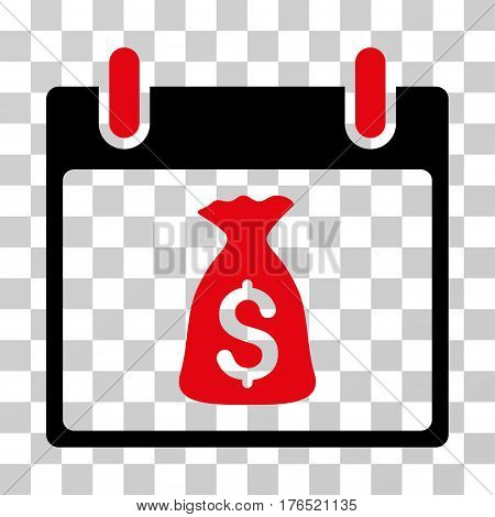 Money Bag Calendar Day icon. Vector illustration style is flat iconic bicolor symbol, intensive red and black colors, transparent background. Designed for web and software interfaces.