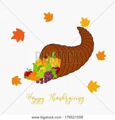 Thanksgiving Cornucopia full of fruits and vegetables, circle maple leafs vector