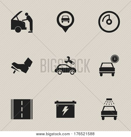 Set Of 9 Editable Vehicle Icons. Includes Symbols Such As Battery, Automotive Fix, Car Lave And More. Can Be Used For Web, Mobile, UI And Infographic Design.