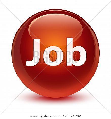 Job Glassy Brown Round Button