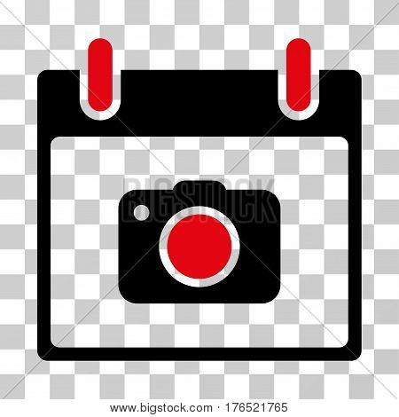 Photo Camera Calendar Day icon. Vector illustration style is flat iconic bicolor symbol, intensive red and black colors, transparent background. Designed for web and software interfaces.