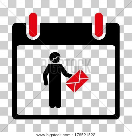 Postman Calendar Day icon. Vector illustration style is flat iconic bicolor symbol, intensive red and black colors, transparent background. Designed for web and software interfaces.