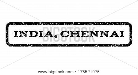 India, Chennai watermark stamp. Text tag inside rounded rectangle with grunge design style. Rubber seal stamp with dust texture. Vector black ink imprint on a white background.