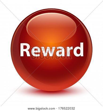 Reward Glassy Brown Round Button