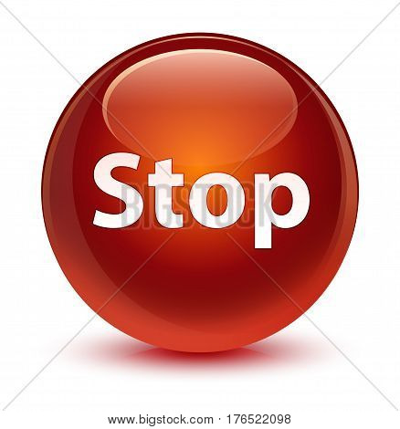 Stop Glassy Brown Round Button
