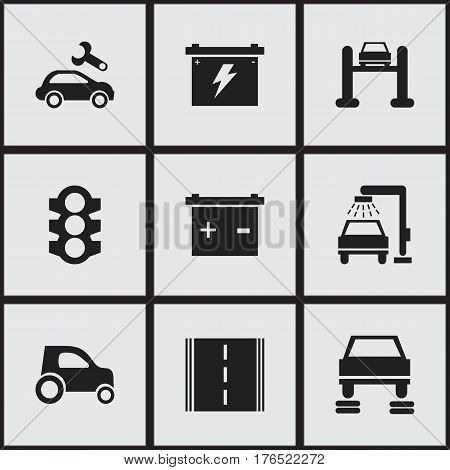 Set Of 9 Editable Transport Icons. Includes Symbols Such As Auto Service, Accumulator, Highway And More. Can Be Used For Web, Mobile, UI And Infographic Design.