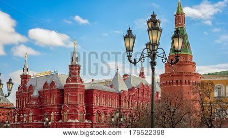 The State Historical Museum Of Russia. Located Between Red Square And Manege Square In Moscow, The C