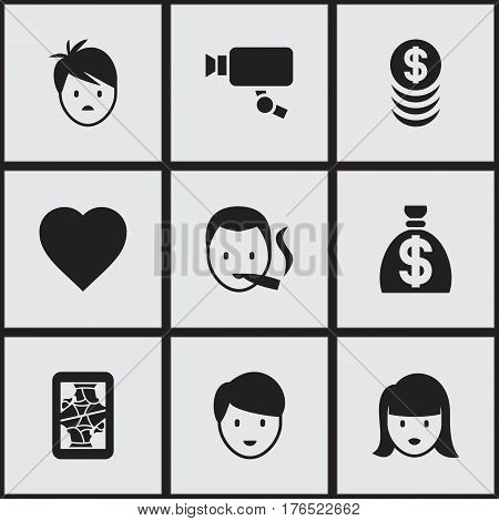 Set Of 9 Editable Business Icons. Includes Symbols Such As Boy, Casino Worker, Tracking Cam And More. Can Be Used For Web, Mobile, UI And Infographic Design.