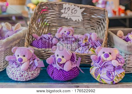 Lavender Filled Sachets At A French Market
