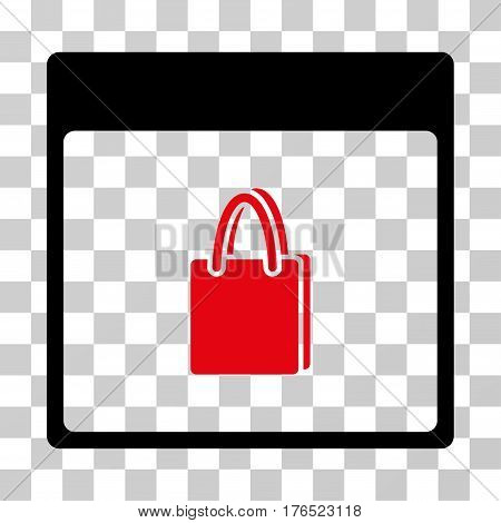 Shopping Bag Calendar Page icon. Vector illustration style is flat iconic bicolor symbol, intensive red and black colors, transparent background. Designed for web and software interfaces.