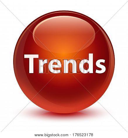 Trends Glassy Brown Round Button
