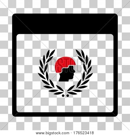 Soldier Laurel Wreath Calendar Page icon. Vector illustration style is flat iconic bicolor symbol, intensive red and black colors, transparent background. Designed for web and software interfaces.