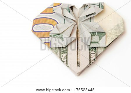 Bill In The Form Of Heart On A White Background