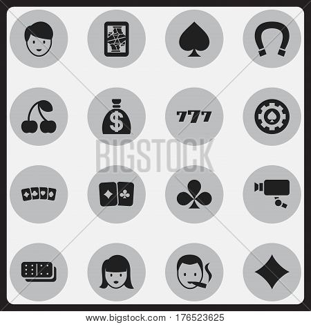 Set Of 16 Editable Gambling Icons. Includes Symbols Such As Luck Charm, Moneybag, Smoker And More. Can Be Used For Web, Mobile, UI And Infographic Design.
