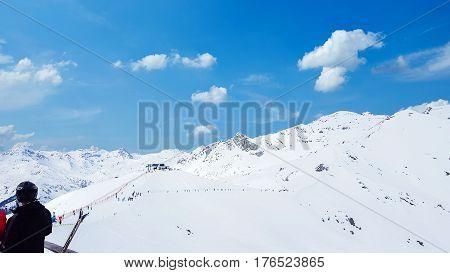 Austria - Mayrhofen Tirol - March 13 2017: Ski resort in Mayrhofen Tyrol in Austria, Mayrhofen Tirol on 13 March 2017