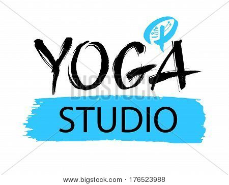 Yoga studio concept logo design. Elegant hand lettering for your design. Can be printed on greeting cards, paper and textile designs, etc. Modern brush calligraphic style. Vector