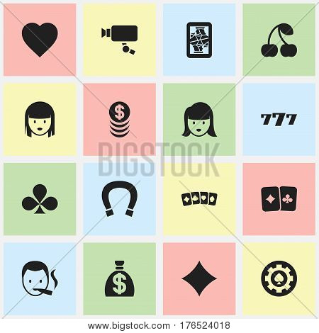 Set Of 16 Editable Gambling Icons. Includes Symbols Such As Rhombus, Tracking Cam, Black Heart And More. Can Be Used For Web, Mobile, UI And Infographic Design.