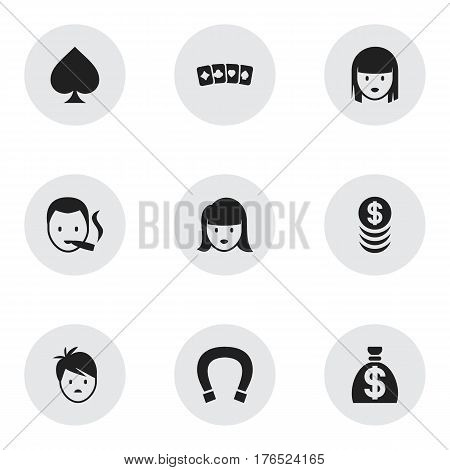 Set Of 9 Editable Excitement Icons. Includes Symbols Such As Card Suits, Luck Charm, Woman Face And More. Can Be Used For Web, Mobile, UI And Infographic Design.