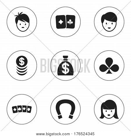 Set Of 9 Editable Game Icons. Includes Symbols Such As Moneybag, Shamrock, Casino Worker And More. Can Be Used For Web, Mobile, UI And Infographic Design.