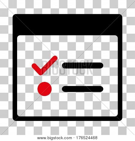 Todo Items Calendar Page icon. Vector illustration style is flat iconic bicolor symbol, intensive red and black colors, transparent background. Designed for web and software interfaces.