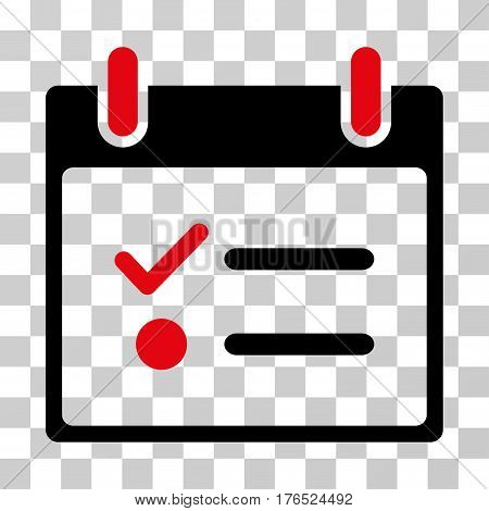 Todo List Calendar Day icon. Vector illustration style is flat iconic bicolor symbol, intensive red and black colors, transparent background. Designed for web and software interfaces.