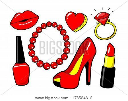 Red kiss lips, nail polish, lipstick, heart, ring, diamand. Women's shoe. Beads necklace. Make up. Fashion style. Vector cartoon elements isolated. Stickers kit, set of icons, patches badge