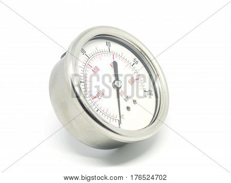 Closeup Of A High Pressure Manometer On White Background.