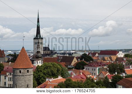 View of St. Olav's Church and the rooftops of Tallinn, Estonia