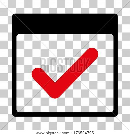 Valid Day Calendar Page icon. Vector illustration style is flat iconic bicolor symbol, intensive red and black colors, transparent background. Designed for web and software interfaces.
