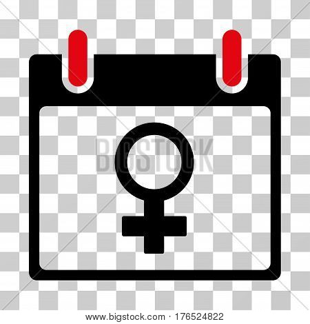 Venus Female Symbol Calendar Day icon. Vector illustration style is flat iconic bicolor symbol, intensive red and black colors, transparent background. Designed for web and software interfaces.