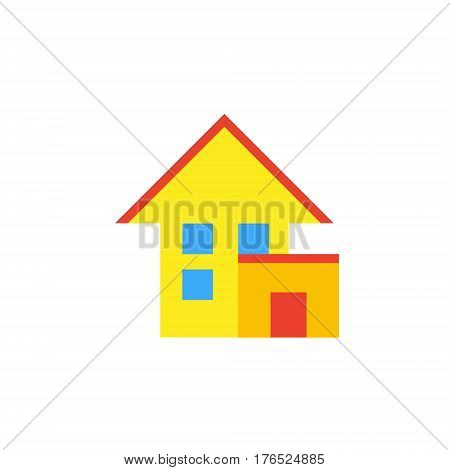 Vector icon or illustration showing living house with garage in material design style