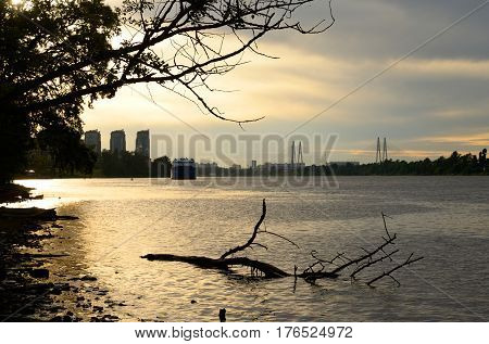 Neva river on the outskirts of St. Petersburg at sunset Russia.