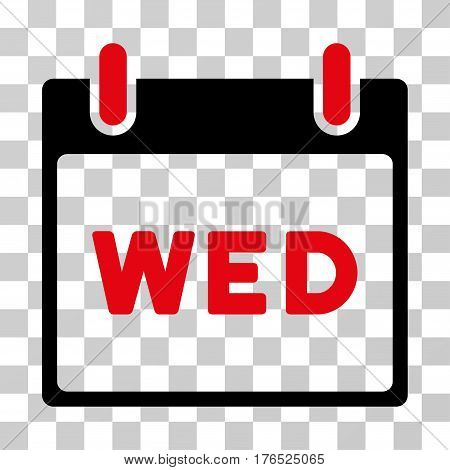 Wednesday Calendar Page icon. Vector illustration style is flat iconic bicolor symbol, intensive red and black colors, transparent background. Designed for web and software interfaces.