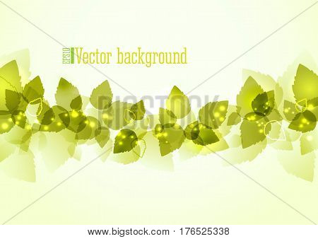 Eco background with green leaves vector illustration. Summer tree branch with fresh green leaves and glow. Natural background for poster banner flyer