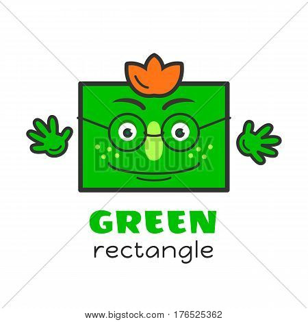 Rectangle geometric shape vector illustration for kids. Cartoon green rectangle character with face and hands for preschool or primary school children. Set of funny geometric shapes