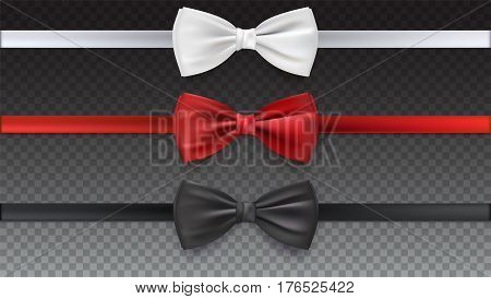 Realistic white, black and red bow tie, vector illustration, isolated on transparent background. Elegant silk neck bow.