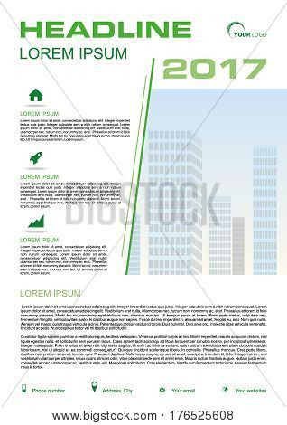 Vector flyer, corporate business, annual report, brochure design and cover presentation with green line and vector buildings