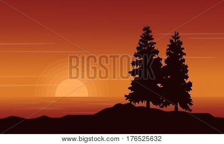 At sunset scenery lake with spruce silhouettes vector art