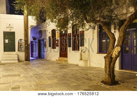 CHORA, GREECE - JANUARY 12, 2017: View of Chora village on Ios island, Greece on January 12, 2017.