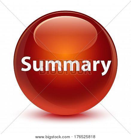 Summary Glassy Brown Round Button