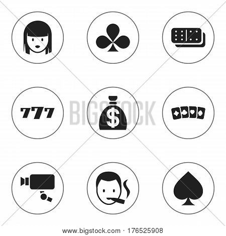 Set Of 9 Editable Excitement Icons. Includes Symbols Such As Smoker, Tracking Cam, Shamrock And More. Can Be Used For Web, Mobile, UI And Infographic Design.