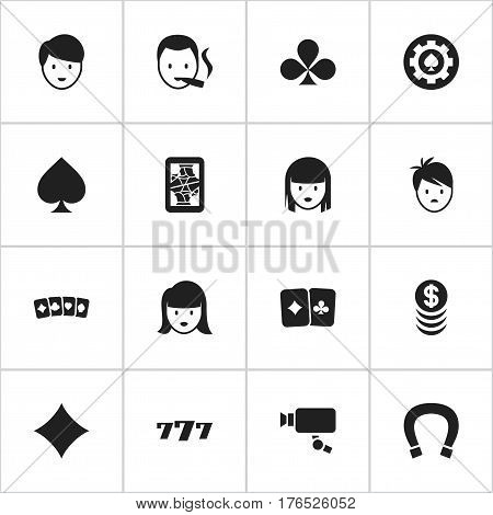Set Of 16 Editable Business Icons. Includes Symbols Such As Tracking Cam, Smoker, Boy And More. Can Be Used For Web, Mobile, UI And Infographic Design.