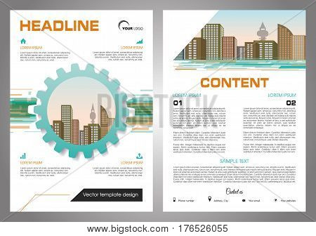 Fyer, corporate business, annual report, brochure design and cover presentation with gear and vector city in orange and blue color.