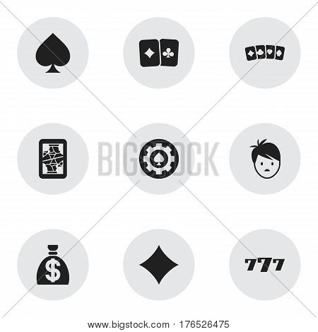 Set Of 9 Editable Excitement Icons. Includes Symbols Such As Rhombus, Lucky Seven, Moneybag And More. Can Be Used For Web, Mobile, UI And Infographic Design.
