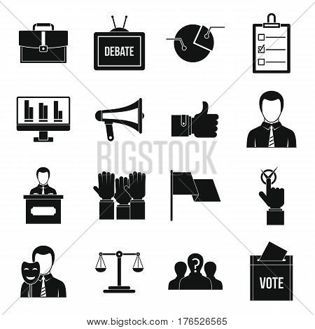 Election voting icons set. Simple illustration of 16 Election voting vector icons for web