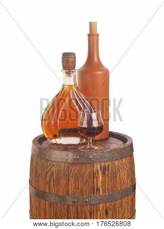 Glass Of Cognac With Barrel On White Backgroun
