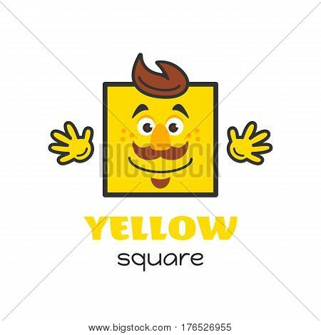 Square geometric shape vector illustration for kids. Cartoon yellow square character with face and hands for preschool or primary school children. Card with funny square shape